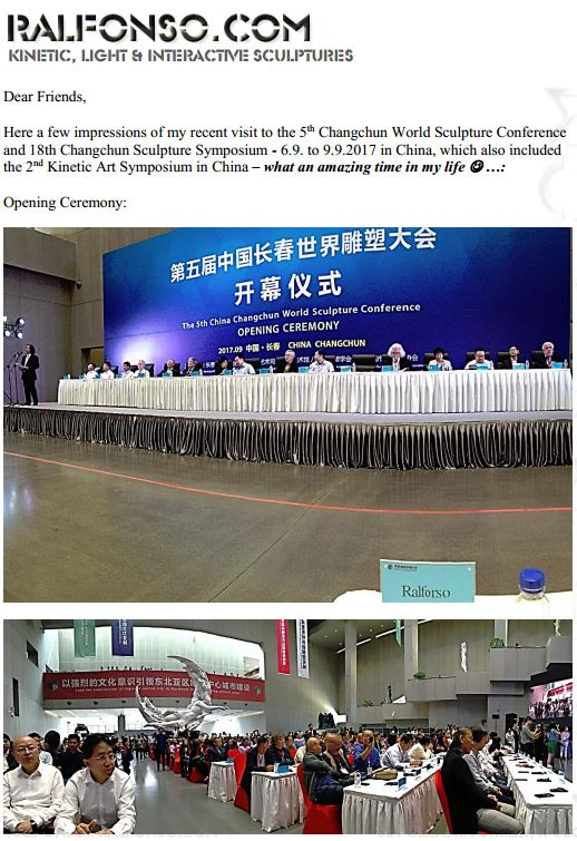 Ralfonso invited to the 2017 Changchun World Sculpture Conference in China