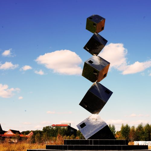 Ralfonso, Kinetic, Interactive, Sculpture, Public Art - Cube Tower - Changchun, China